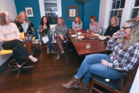 """Lydia Ricci, third from the left, and her friends have begun organizing """"podclubs"""" -- like book clubs, for podcasts -- and she has launched a new website, thepodclubs.com that helps anyone who is interested to set up their own podclub. (Steven M. Falk/Philadelphia Inquirer/TNS)"""